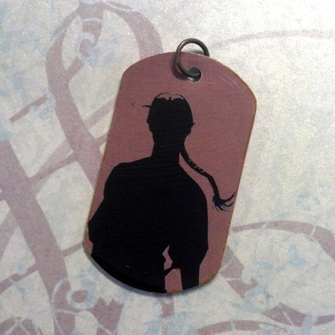 """Optimystical Studios prototype for Lady Sabre """"dog tag"""" pendant, face."""