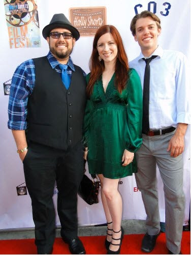 "Jonathan Pezza, Shaela Cook and Philip Gray attending HollyShorts 2011 at which ""Hollywood Superhero"" premiered."