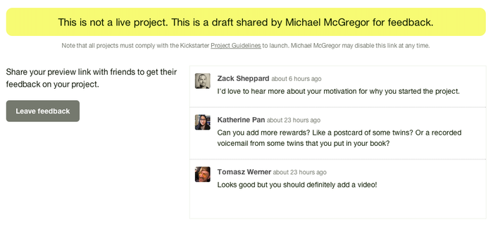 New Feature: Feedback on Project Preview — Kickstarter