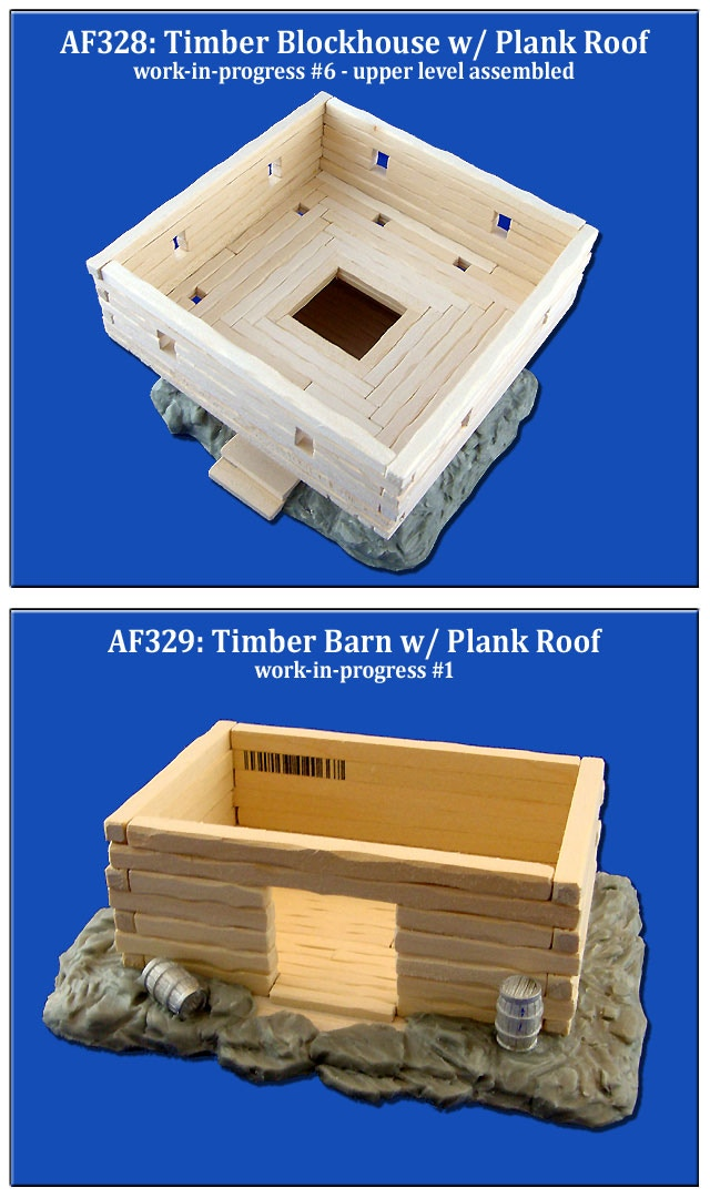 Timber Blockhouse & Timber Barn - both with removable plank roofs