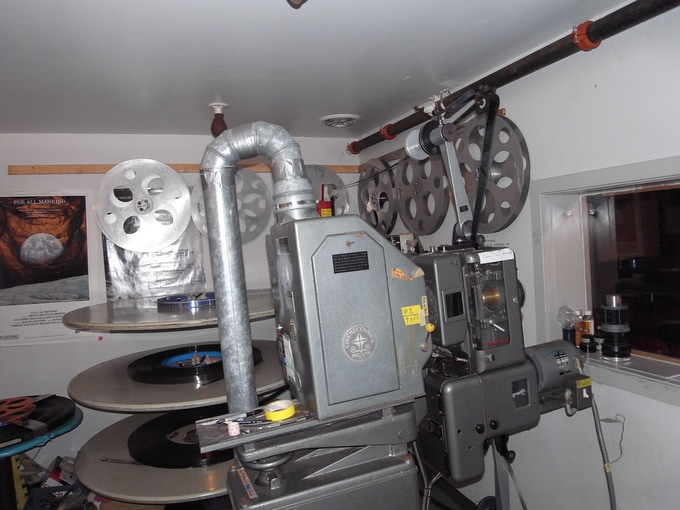 Our current 35mm film projector in use since the 1960s.