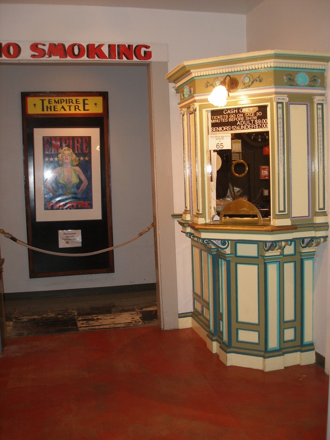 Original ticket booth from 1882, recently restored.