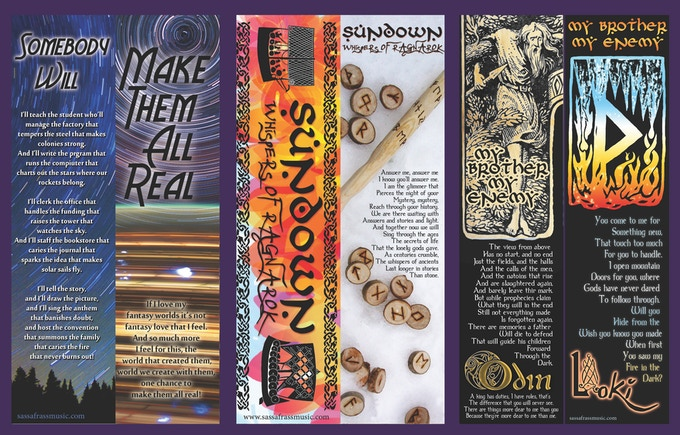 Our three double-sided bookmark designs: Make Them All Real, Sundown, Odin and Loki.
