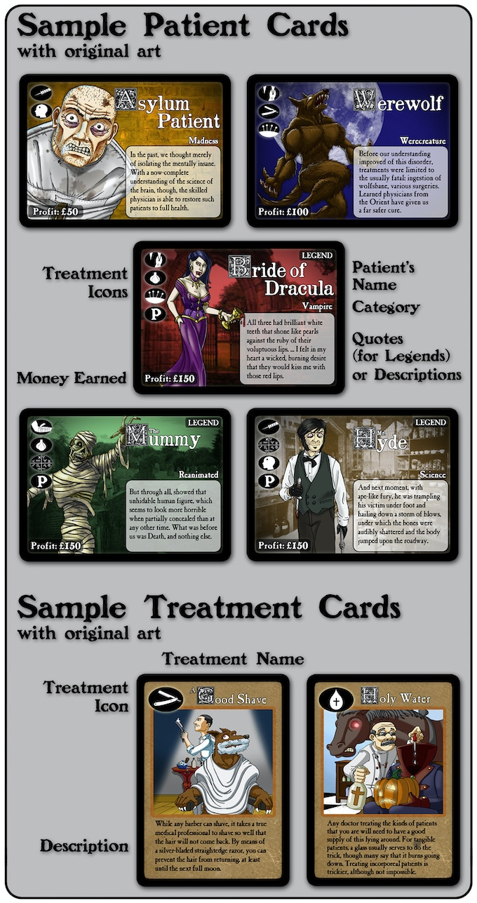 Gothic Doctor card examples, featuring original art
