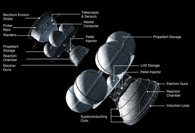 Rocket Science—Daedalus space probe, humankind's first scientifically-sound model of an interstellar spacecraft (illus. Adrian Mann)