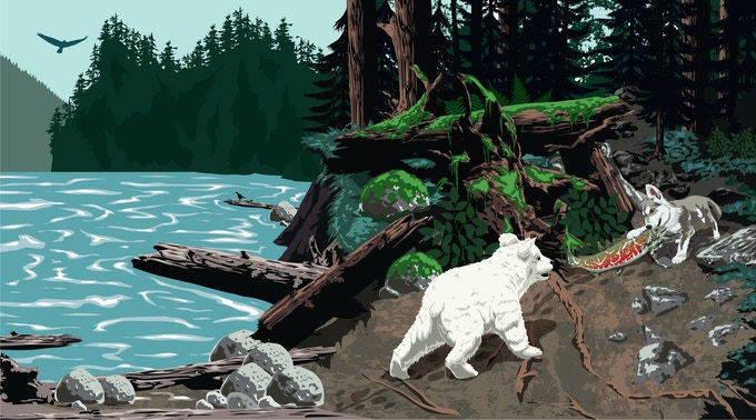 An illustration from 'Spirit Bear,' an eco-themed children's book