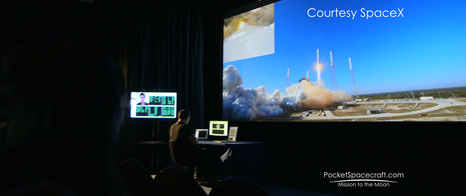 A proof of concept public mission control installation in a digital cinema.