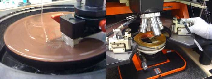 Lapping (thinning) a pocket spacecraft chip die using diamond 'sandpaper' (left) and testing the final part (right).