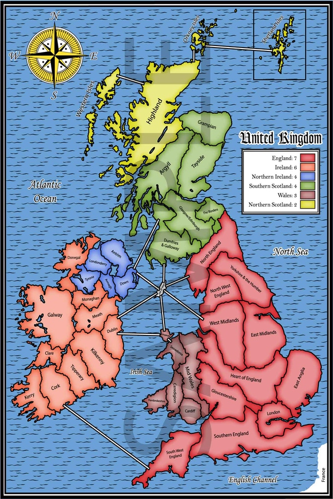 United Kingdom (Engraved and Classic Board Style Available)