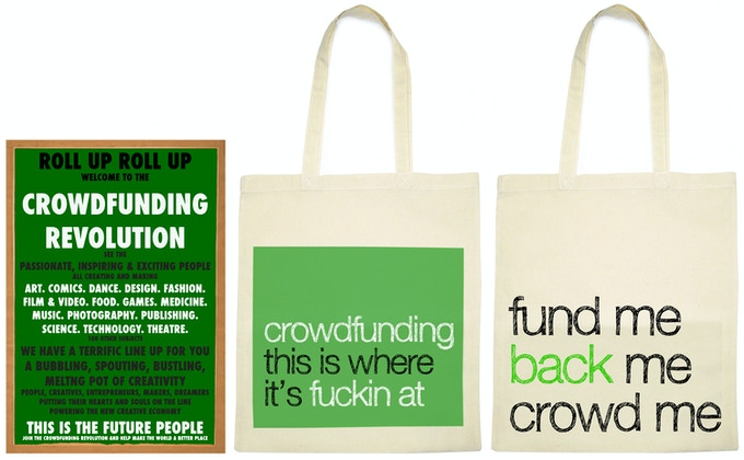 Some of our awesome rewards including a poster from letterpress artist Kevin Bradley (final design is TBD) and our $40 reward: a tote to show off your crowdfunding pride (backers will choose the final design).