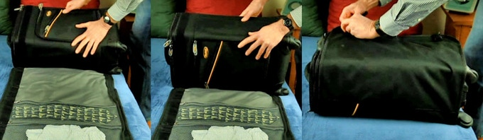 Wrapping the garment bag around the suitcase