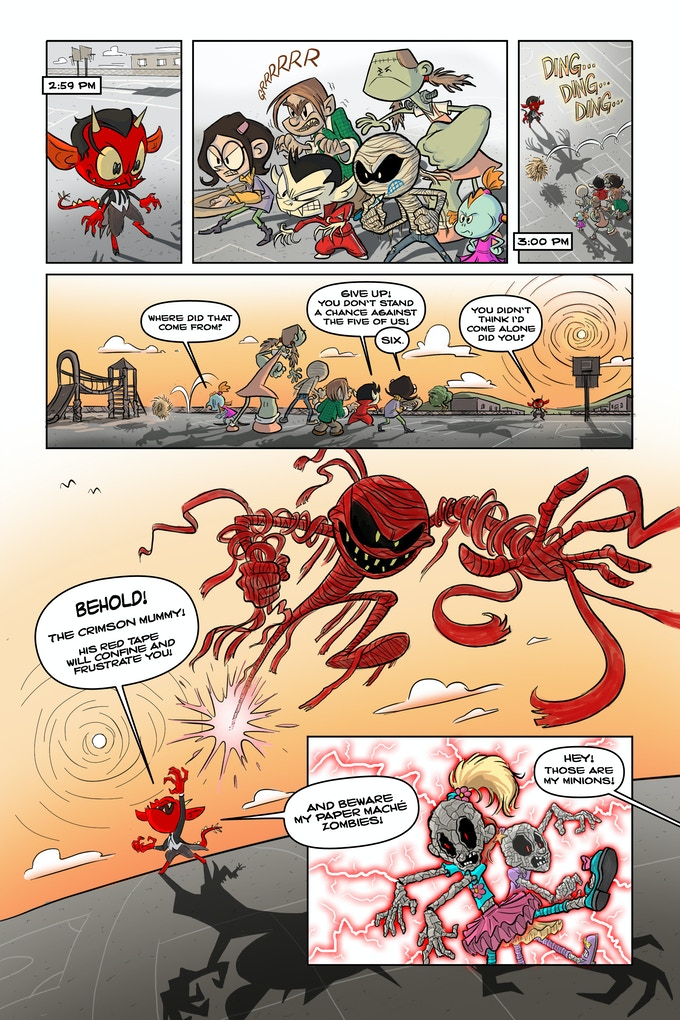 """Page from """"Demon Boy"""" in MONSTER ELEMENTARY, Art by Lee-Roy Lahey, Words by Nicholas Doan"""