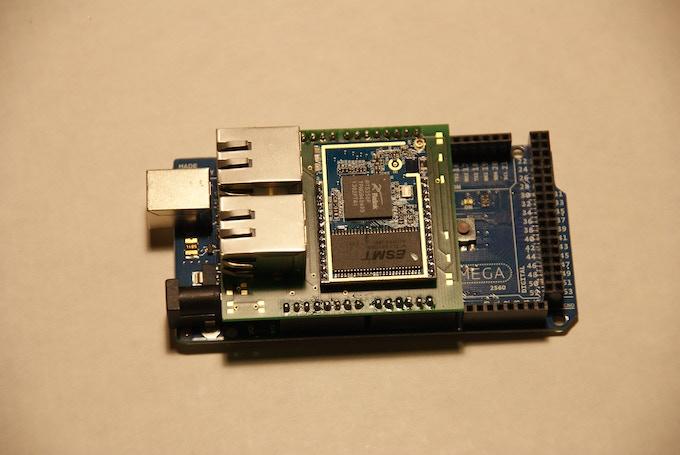 URUK Shield plugged in to an Arduino Mega