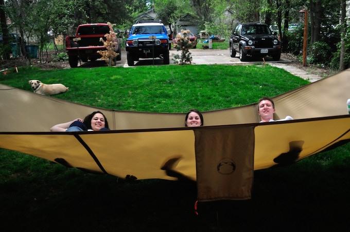 A few friends relaxing in the mega hammock