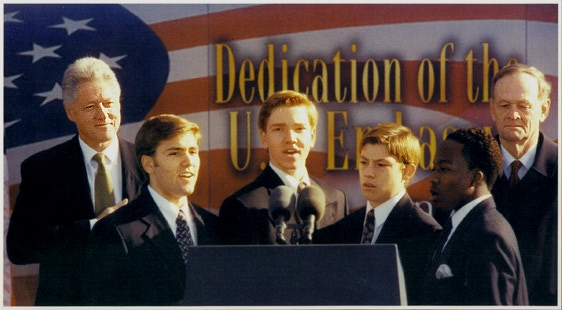 Singing for President Clinton in 1999 with brother Bryan and high school vocal group.
