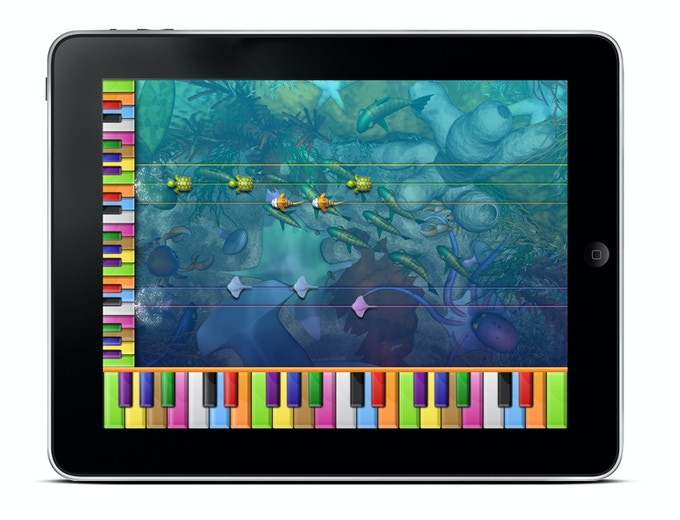 As the target virtual keyboard rotates, the kids see how music notation orientates pitch vertically, and how the piano relates to that.
