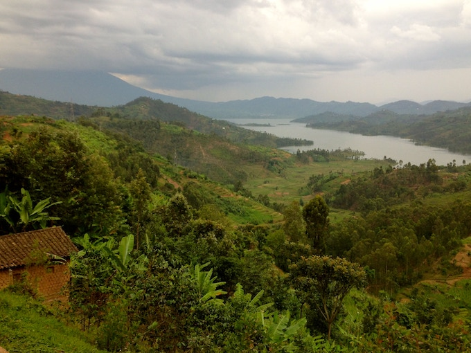 A completely typical drive in lush, verdant, hilly Rwanda. Photo credit: Tyler Nelson.
