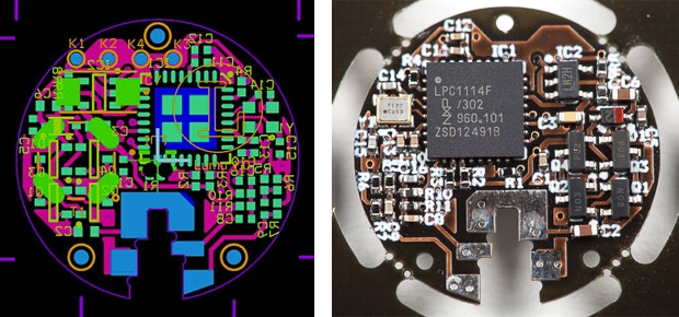 Working prototype electronics, squezzed on less than a quater dollar coin size.