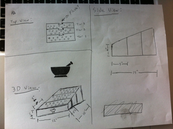 Original concept that we sketched. Originally, the Spiceologist Block™ consisted of (4) blocks that connected together with dovetail joints.