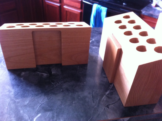 """Our first prototype! Check out the dovetail joints that """"connected"""" the blocks together."""