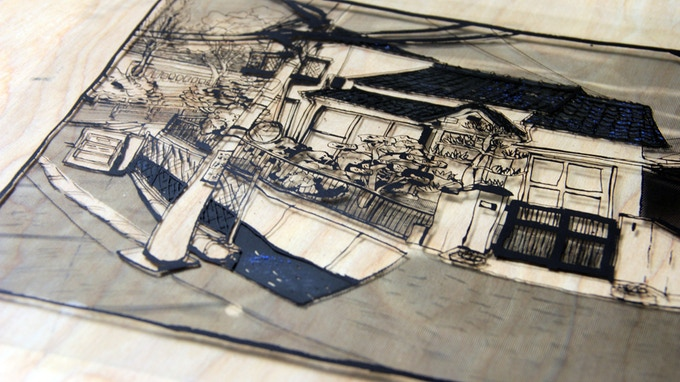 "two layers of black ink transparencies for ""Okayama""."