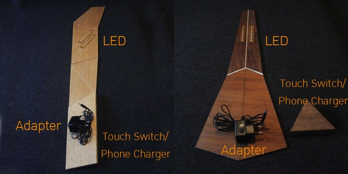 """Components included in the box. The """"Loop"""" lamp in flat dimension is around 20 x 120 Cm. And the """"Arrow"""" lamp is around 20 x 80 Cm."""