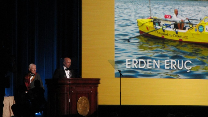 Erden Eruç receiving the Citation of Merit award at the 2013 Explorers Club Annual Dinner