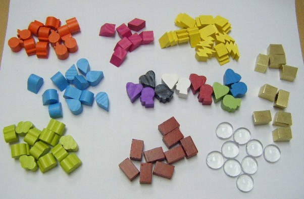 most of the custom tokens in the game, including the realistic-material tokens for gold, stone, and clay (the clear glass tokens will be solid grey)