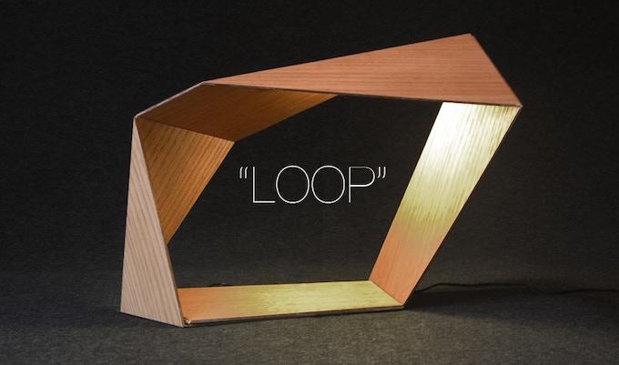 "The ""Loop"" Bedside LED lamp with smartphone charger. (Oak veneer)"