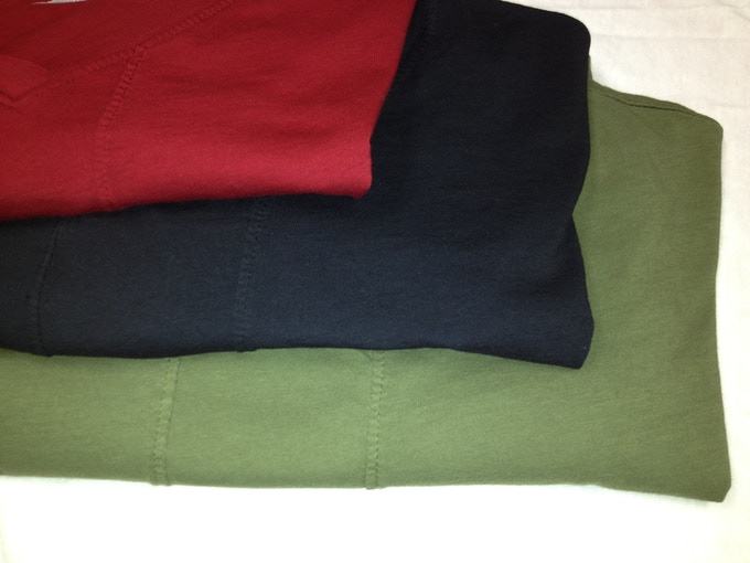 Close-up of Olive, Black and Dark Red Cotton StreamLine Shirts