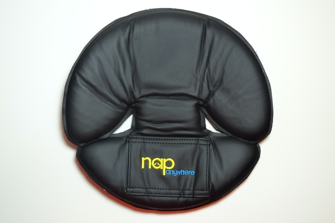 Top view of the cool side. The NapAnywhere has been flattened for storage. The fabrics are antimicrobial and wipe clean. An attractive carrying pouch is included.