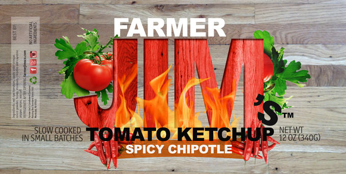 The label for the spicy chipotle ketchup