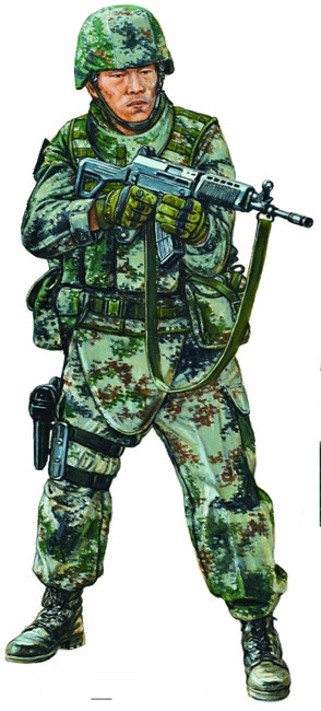 PLA infantryman in Type 07 digital-pattern camouflage with 5.8mm folding-stock QBZ-03 assault rifle, by Adam Hook © Osprey Publishing Ltd. Taken from Elite 194: The Chinese People's Liberation Army since 1949: Ground Forces.