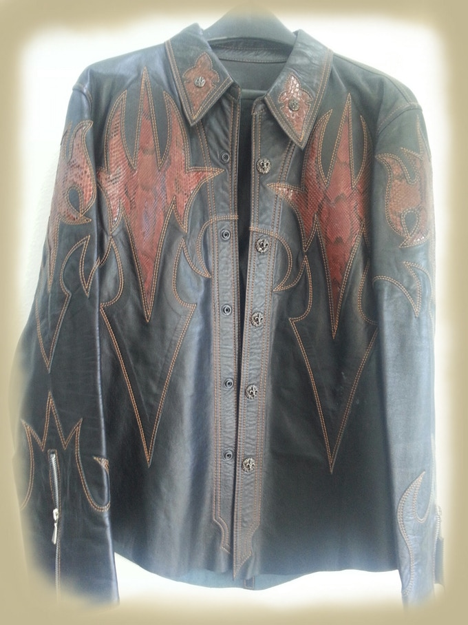 One Of A Kind Leather Jacket worn on stage by Chuck Negron