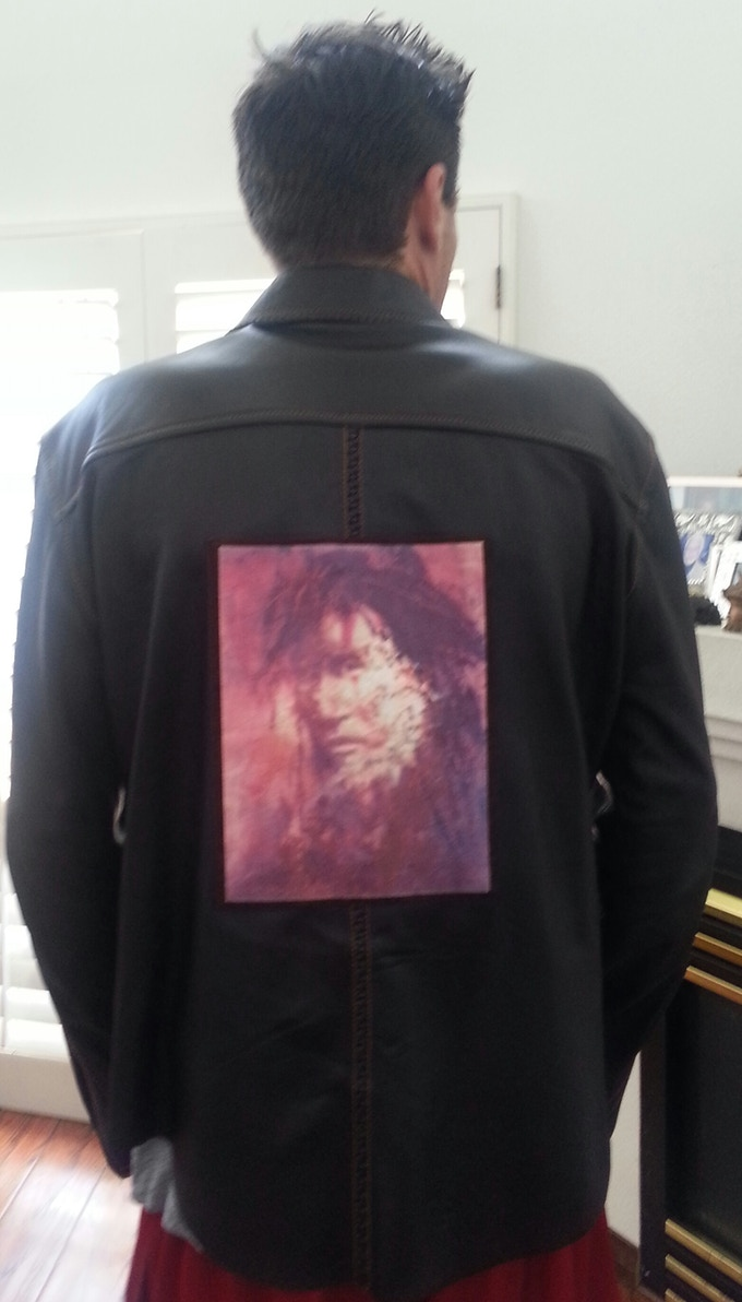 Back of Leather Jacket modeled by Chuck Negron III - Featuring Native American Applique.