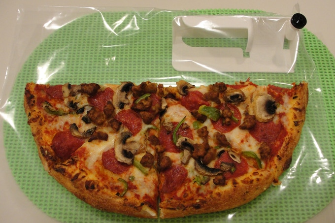 ThriftyVac® installed in a bag big enough to handle a large pizza