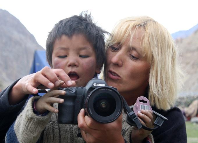 Nepali child with a camera