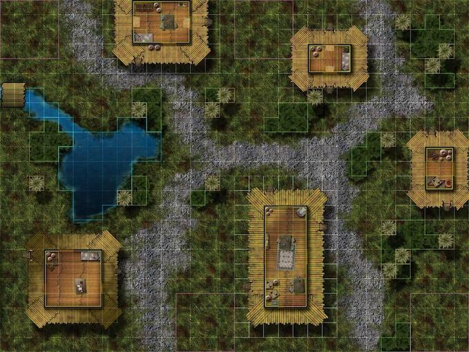 "2 ""Jungle Village"" maps connect for large scale heroclix battles!"
