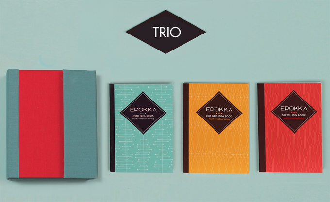 The TRIO with the Dot-Grid, Lined, and Sketch Idea Book Inserts