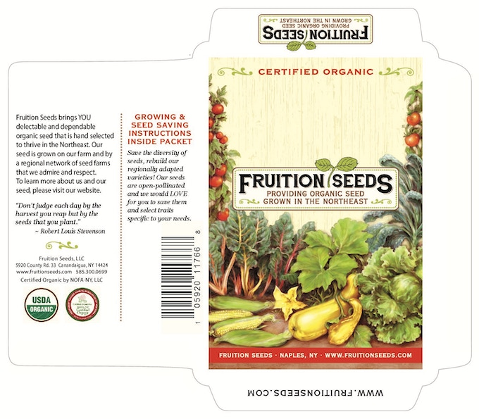Vegetable seed pack, front and back
