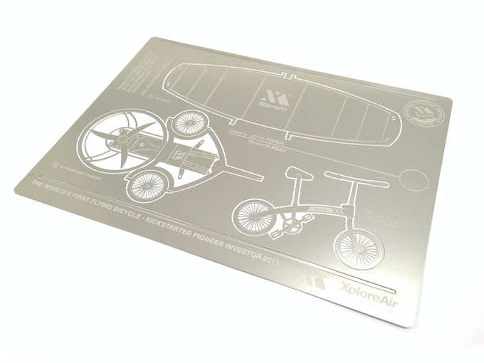 "Photos of the nickel silver A4 blueprint (8.3"" x 11.7""): As a flat sheet, and below as the pop-up 3D model"