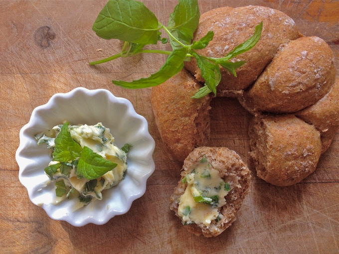 Mint infused butter on bread