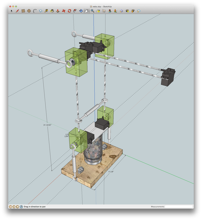 Neko model in Sketchup, with printable parts in green