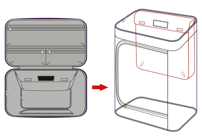Design drawing for internal padded laptop sleeve