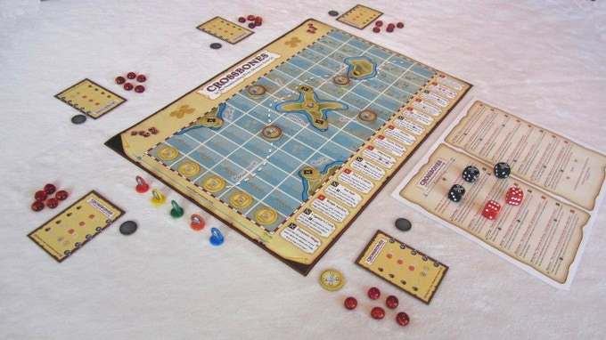 "A 5 player ""Landlubber"" game setup. (Prototype Componets Shown)"