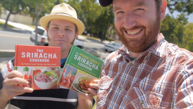 """Author Randy Clemens and director Griffin Hammond. For $35, choose* """"The Sriracha Cookbook"""" or """"The Veggie-Lover's Sriracha Cookbook"""" autographed by Randy Clemens."""