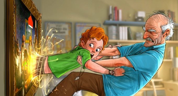 Walt being pulled into a painting! (concept painting)