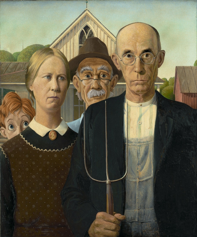 """Walt and Grandpa photo bomb """"American Gothic.""""  (Concept painting only)"""