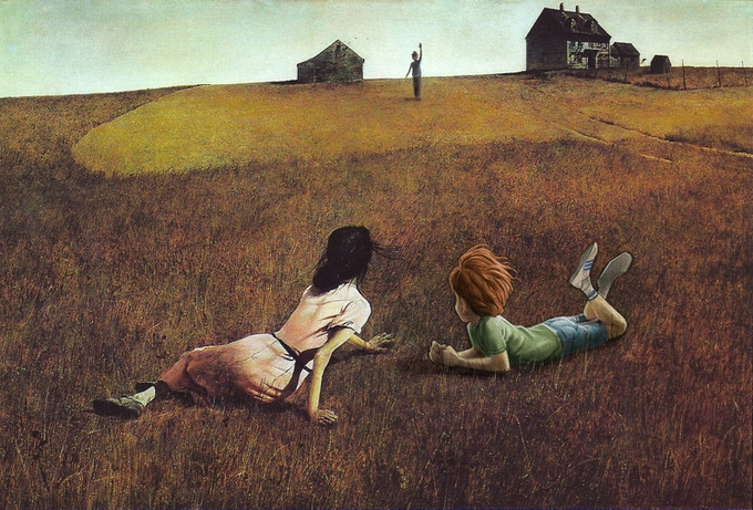 """Walt chatting with Christina in Andrew Wyeth's """"Christina's World"""" (concept painting only)"""