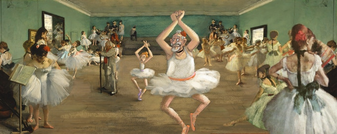 Grandpa and Walt sneak by Degas's strict dance instructor (concept painting)